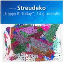 "Streudeko ""Happy Birthday"", bunt metallic, 14 g"